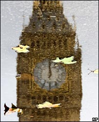 Big Ben's famous face reflected