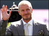 David Beckham waves to the fans