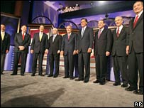 Republican candidates during a televised debate