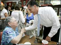 Republican candidate Mitt Romney out campaigning in Iowa