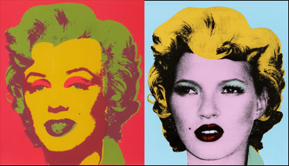 Warhol's screen print of Marilyn Monroe and Banksy's print of Kate Moss