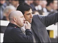 Steve Kean (left) in conversation with Chris Coleman