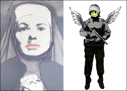 Ingrid Bergman as a nun by Andy Warhol (l) and a painting by Banksy