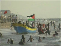 Gazans at the beach