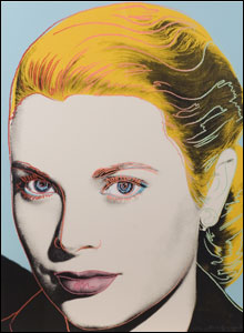 A painting of Grace Kelly by Andy Warhol