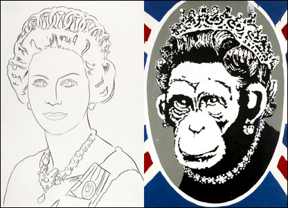 Warhol's line drawing of Queen Elizabeth and Deride and Conquer by Banksy