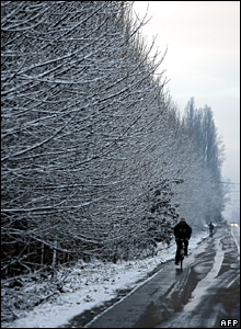 A man rides his bicycle past snow-covered trees in Santiago, Chile