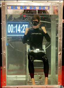 Tom Sietas from Hamburg, Germany, celebrates breaking his own world record of 14 minutes 25 seconds for holding his breath under water