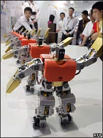 Prototype robots at a high-tech expo in Beijing in May 2007
