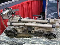 Packbot ground vehicle, damaged by explosive device while in use in Iraq