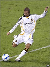 David Beckham takes a free kick in his Major League Soccer debut on Thursday night