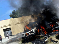 Cars burning in Dili on 10 August 2007