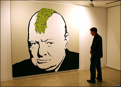 Winston Churchill with a mohican
