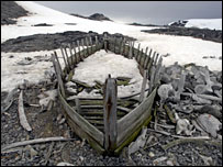 Ruins of a whaling boat in the Antarctic