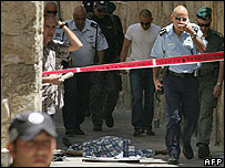 Scene of the shooting in Jerusalem