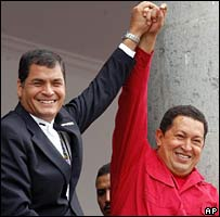 Ecuador President Rafael Correa (left) and Venezuela's Hugo Chavez (right) in Quito