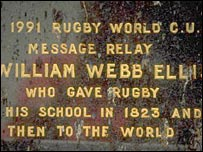 William Webb Ellis' plaque