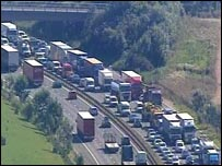 Queuing traffic on the M25