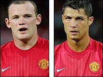 Man Utd duo Wayne Rooney (left) and Cristiano Ronaldo