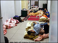 Iraqis sleeping at Amman's international airport