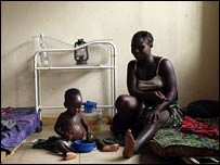 A two-year-old being treated for malnourishment at Kailahun hospital (Photo: Anna Kari)