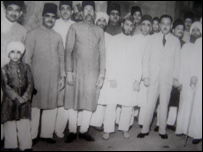 Abdul Qadri (far l) as a child with aides and ministers of the Nizam of Hyderabad