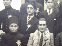 A black and white image of university students, Abdul is centre, wearing glasses