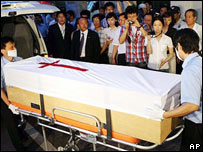 The coffin of the leader of the group, Pastor Bae Hyung-kyu, arrives in Seoul (file picture)