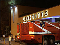 A fire engine outside Cinecitta