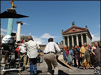 Filming on the set of Rome at Cinecitta