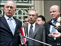 Troika envoys (left to right): the EU's Wolfgang Ischinger, Russia's Alexander Botsan-Kharchenko, US envoy Frank Wisner.