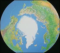 El Polo Norte en el globo terráqueo.