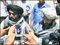 Taleban representatives Mullah Qari Bashir, left, and Mawlawi Nasrullah