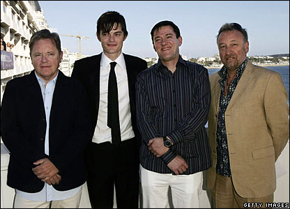 Bernard Sumner, Sam Riley, Stephen Morris and Peter Hook in 2007