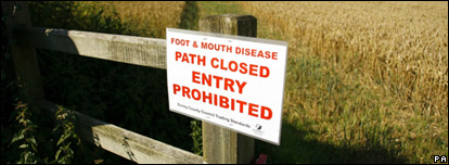 A foot-and-mouth footpath closed sign
