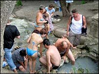 Bathers at the open-air spa in Pyatigorsk
