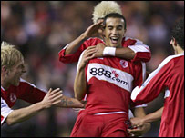Seb Hines celebrates scoring against Hull in the FA Cup