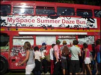 The MySpace bus at the Underage Festival