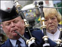 Bagpiper with Madeleine's grandmother Eileen McCann