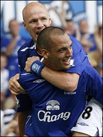 Andrew Johnsono congratulates Everton goalscorer Leon Osman