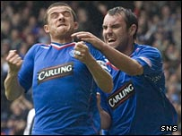 Kris Boyd (right) congratulates Barry Ferguson on opening the scoring for Rangers