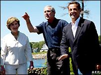 Laura Bush, George W Bush, Nicolas Sarkozy 11/08/2007