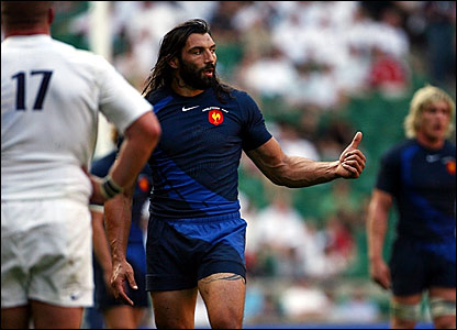 Man of the match Sebastien Chabal gestures to a team-mate