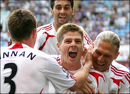 Steven Gerrard and his team-mates celebrate