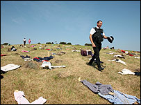 Site of vandalised scarecrows, Sheppey (picture by Gary Weston)
