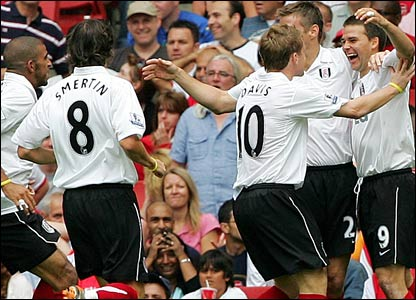 Fulham celebrate their goal