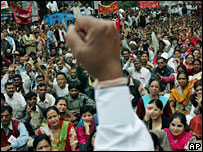 A protest meeting in India