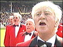 The choir sing at Wembley before Wales v England in 1999