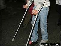 Person on crutches
