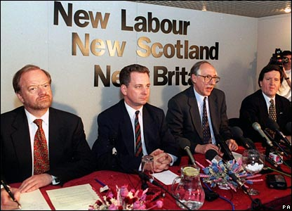 L to R: Robin Cook, Jack McConnell, Donald Dewar and George Robertson